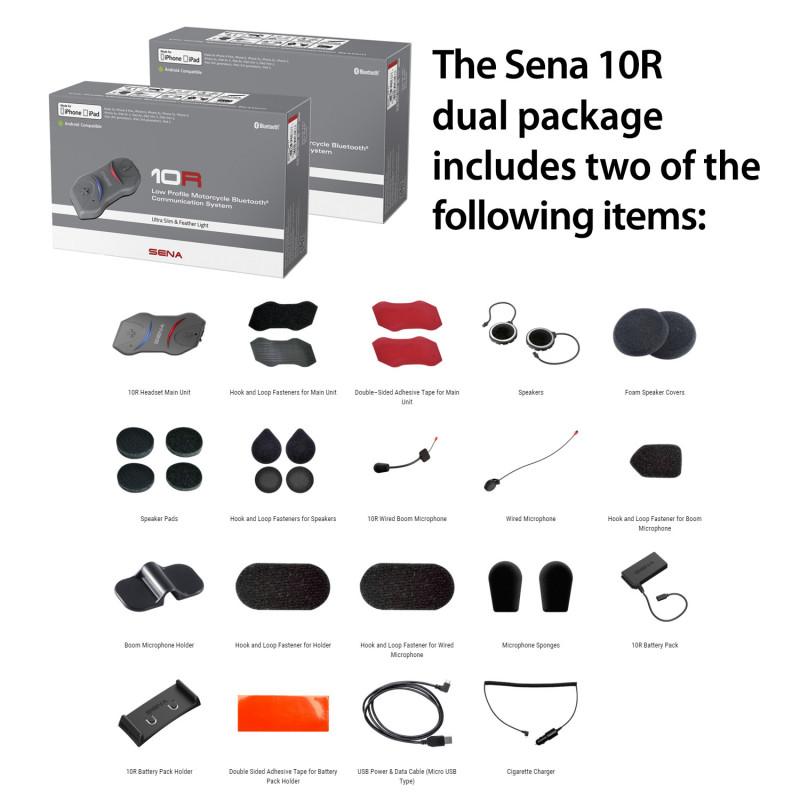 sena 10r 01d low profile bluetooth headset intercom dual pack. Black Bedroom Furniture Sets. Home Design Ideas