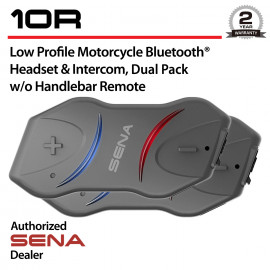 10R Low Profile Bluetooth Headset & Intercom w/o Handlebar Remote, Dual Pack