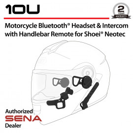 10U Bluetooth Headset & Intercom with Handlebar Remote for Shoei Neotec
