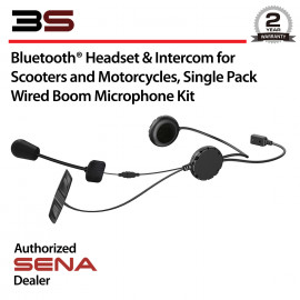 3S Bluetooth Headset & Intercom for Scooters and Motorcycles, Wired Boom Microphone Kit