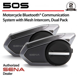 50S Motorcycle Bluetooth Headset with Mesh Intercom, Dual Pack