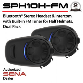 SPH10H-FM Headset & Intercom with Built-in FM Tuner for Half Helmets, Dual Pack